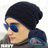 topi kupluk import topi musim dingin topi rajut - Navy