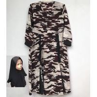 Gamis Anak Perempuan Motif Loreng + Jilbab Size 1&3