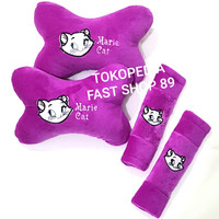 BANTAL JOK MOBIL PLUS SARUNG BELT MARIE CAT UNGU 2IN1 -BL185