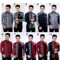 Koko Batik Kombinasi Abu Koko Batik Lengan Panjang Baju Muslim Pria 18