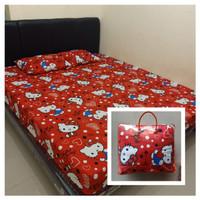 Bedcover Premium + Sprei Set Red Hello Kitty SUPERMURAH