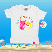 Kaos Anak Original Baby Shark Pinkfong Usia 2-4 Tahun - Putih