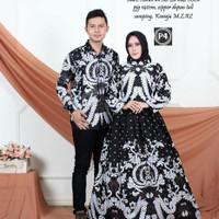 couple pasangan batik motif mahkota putih