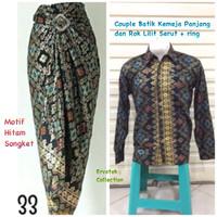 Couple Batik CBPJL24 Kemeja Pria Panjang dan Rok Lilit Serut Songket