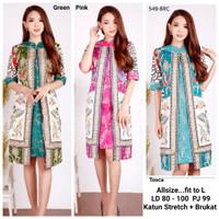 Dress Batik Lengan Tiga Perempat Kombinasi Brukat