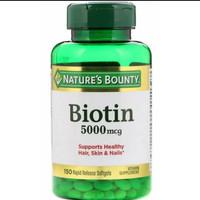 Nature's bounty biotin 5000mcg 5000 mcg isi 150
