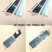 PAKET LENGKAP Roda+Rel Timbul 380 Pintu Lemari Sliding/Geser (1,5 Mtr)