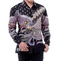 kemeja batik pria lengan panjang batik tulis kombinasi furing AD102 - Abu-abu, M