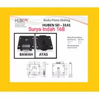 PAKET LENGKAP Roda SD3141 +Rel UM Pintu Lemari Sliding/Geser (1,5 Mtr)
