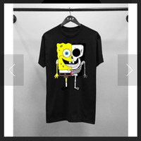 T-shirt Spongebob / Baju Kaos Distro Pria Polos Hitam Pendek Slimfit