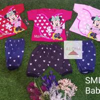 Stelan Baju Bayi Perempuan Motif Minnie Mouse 0-8 Bulan