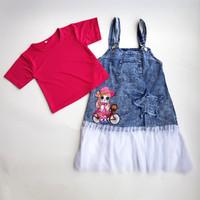 Baju kodok / overall Snow anak perempuan umur 4-6 tahun - 4-5 tahun