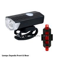 LAMPU SEPEDA LED DEPAN BELAKANG / BICYCLE LAMP FRONT REAR RECHARGEABLE
