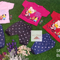 Stelan Baju Bayi Perempuan 0-8 bulan motif Bear
