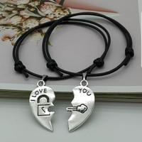 Gelang couple tali hitam korea i love you charm 2 pcs simple gift