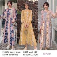 Maxi Dress Tangan Panjang Motif Bunga Warna Warni Import/Pm Doly Maxi