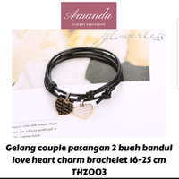 Gelang couple tali hitam korea love charm 2 pcs simple gift