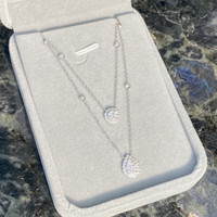 Double Layer Round & Pear Diamond Necklace