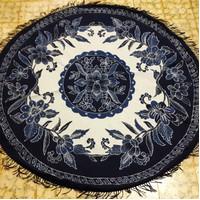 Taplak Meja Makan Batik Bundar Bulat 4 kursi 1,5 meter