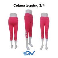 celana senam wanita legging 3/4 warna pink - Merah Muda, S