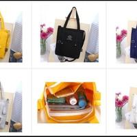 korea solid color Tote shoulder bag/selempang wanita-black