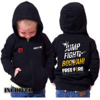 Jaket Sweater Hoodie Anak Zipper Free Fire