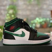 Sneaker Anak Laki Jordan AJ1 Mid Pine Green Toe GS 554725-067 ORIGINAL