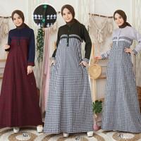 gamis katun motif kotak kotak/baju muslim wanita/gamis murah