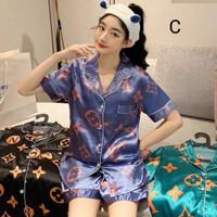 Piyama Wanita 329 Baju Tidur Satin Lengan Celana Pendek Sleepwear Set