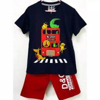 Kaos anak setelan karakter bus