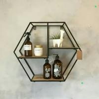 Rak Dinding Besi - Rak Hias Pot Bunga Besi - Hiasan dingding Hexagon
