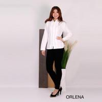 Kemeja wanita tangan panjang katun putih variasi jahitan Orlena