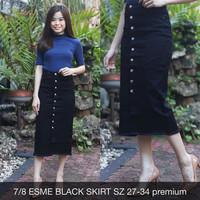 Rok Jeans Wanita 7/8 Esme Black Skirt Stretch Big Size Button Big Size