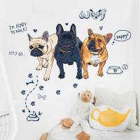 Stiker Dinding / Kaca / Wall Sticker (3 Anjing Bulldog Lucu)