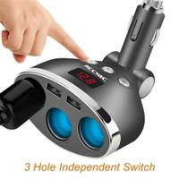 T3 Dual USB Car Charger 2 Port dengan 3 Socket Lighter & LCD Display