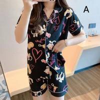 Piyama Wanita Lucy Baju Tidur Katun Motif Bajutidur Sleepwear Set Cewe