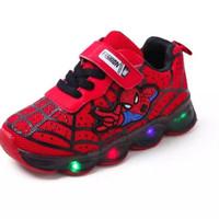 Sepatu Anak Laki-laki & Perempuan Led Model Spiderman Bahan Lembut