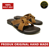 Sandal wanita bahan kulit asli model terbaru sandal flat wanita