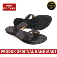 Sandal wanita bahan kulit asli model terbaru sandal flat wanita kulit