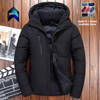 jaket winter pria jaket tebal jaket anti angin jaket musim dingin - Hitam, S