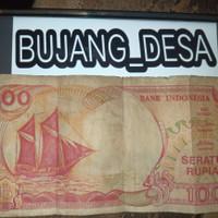 uang kertas kuno 100 rupiah perahu pinisi tahun 1992