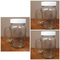 Gelas HarvestTime Jar 450 ml plus Tutup plastik putih / Gelas Cafe