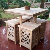 set meja kursi taman kafe teras kayu jati