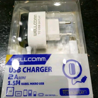 Charger Wellcomm 2A Output TC USB 2A Flat Micro