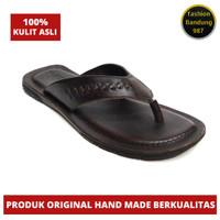 Sandal levis pria bahan kulit asli sandal flat model japit 005