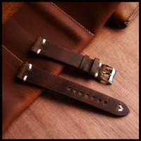 tali kulit jam tangan 22mm -leather strap 100% kulit asli - Cokelat, 20MM
