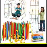 magic straw 300pc / mainan rancang bangunan 4 dimensi