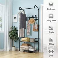 Rak Gantungan Baju Serbaguna / Stand Hanger / Tempat Penyimpanan Baju - Hitam