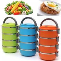 Rantang Warna Polos 4 Susun Stainless / Lunch Box Warna 4 Tingkat