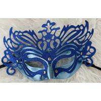 Lace mask party topeng pesta glitter biru